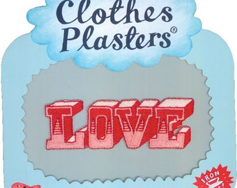 Retro Clothes Plasters - Funky Iron-on Fabric Patches Badges - LOVE - Red Words - Gift