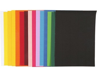 Corrugated Craft Card - Fine Rib - 15 Assorted Colour Sheets - Craft Scrapbook Cards Construction
