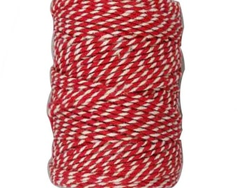 Retro Striped Parcel String - Red & White - Bakers Twine - Craft Decorate Gift Wrap