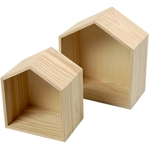 Plain Wooden House Shaped Shelf Box Small Medium Boxes Etsy Fascinating Small Wooden Boxes To Decorate