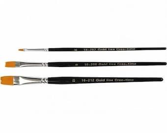 Craft Paint Brush Set x 3 - Flat Nylon Brushes Art School Student - Sizes 2 8 and 12
