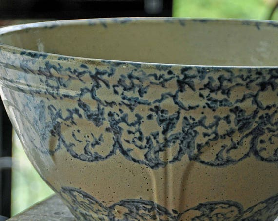 "Antique 19th C 1870-1880 BLUE & WHITE SPONGEWARE Pottery Bowl Hand Painted and Glazed, 11 1/4"" inside di, 12"" outside di x 5 3/4"" out side H"