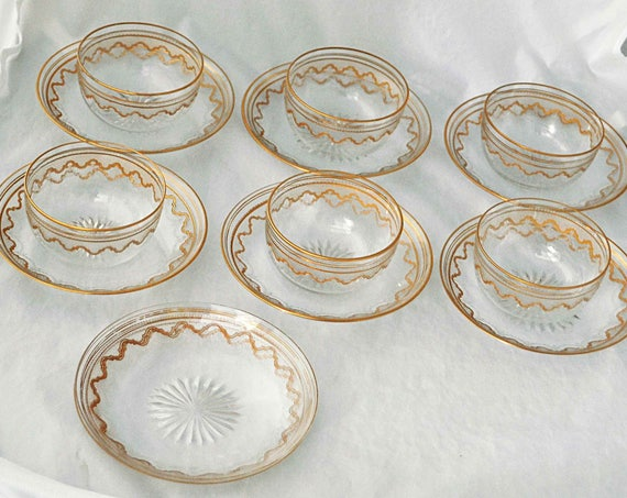 Rare Antique 1920s SAINT LOUIS CRYSTAL Beethoven Elegant 6 Bowls 8 Under plates Ornate Gold Encrusted Etched Exc Vintage Condition Reduced