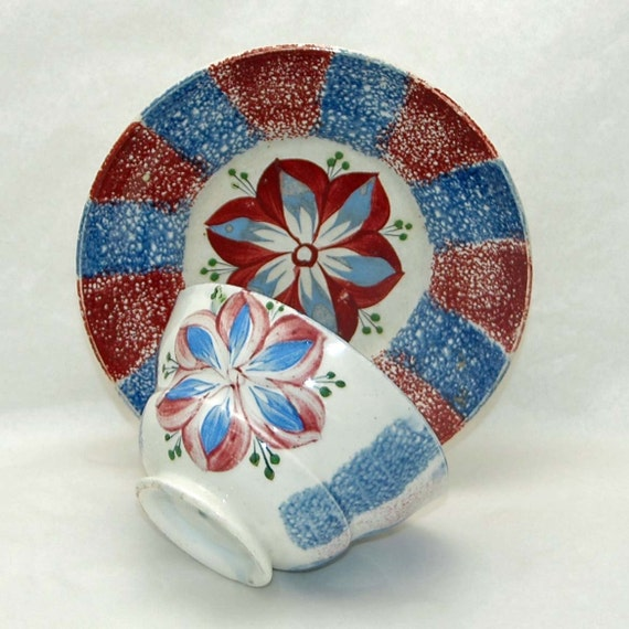 "Antique 1800-1810 RAINBOW SPATTERWARE DAHLIA Cup n Saucer Red n Blue Cup 2 3/8""H x 4""W w/2 chips Saucer 5 7/8W No Chips Cracks r Restoration"