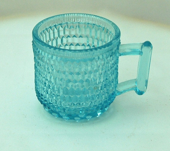 Antique Sapphire BLUE 'PRISM' TOY Mug W/ Hobnail Bottom Ca 1889-1896 Rare Victorian Vintage Pattern Glass Excellent Condition