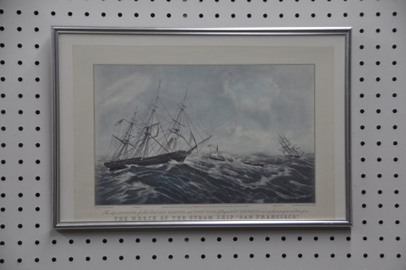 """Vintage 'The Wreck of The STEAMSHIP """"SAN FRANCISCO"""" Framed, Reprint from Lith. By N. Currier in color from a Painting by F. E. Butterworth"""