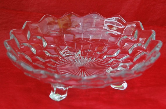 """Reduced: Vintage FOSTORIA AMERICAN 3 Footed BONBON 7 1/8"""" Di. Collectible Dish Fostoria's Early American Pattern Glass - Excellent Condition"""