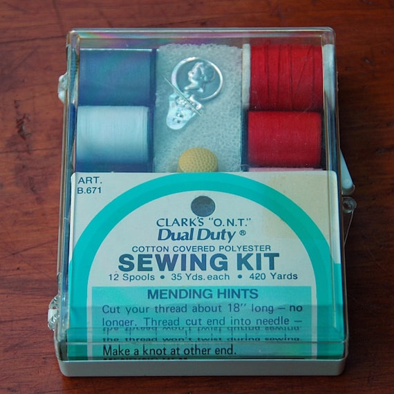 "Vintage CLARK'S ""O.N.T."" DUAL Duty Sewing Kit Cotton Covered Polyester Excellent Condition 12 Spools Thread Cutter n Thimble Original case."
