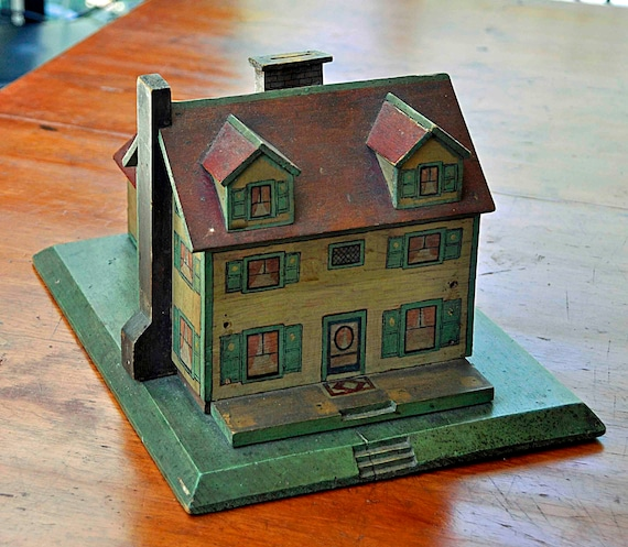 Rare Vintage 1930s WOOD HOUSE BANK, 2 Stories, HandMade, One of a Kind, Painted in New England Primitive Folk Art Exc Vintage Condition.