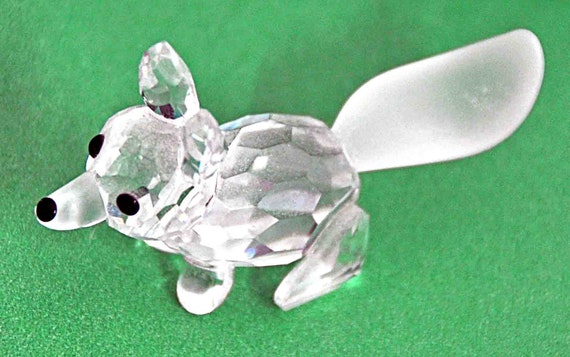 Vintage Collectible SWAROVSKI FOX, MINI Running Frosted Tail and Nose Designed by Adi Stocker Excellent Condition - No Box