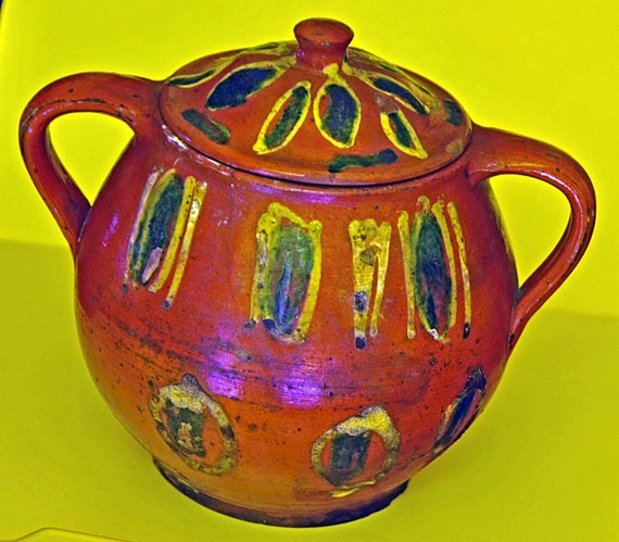 "Antique C 1780-1820 SLIP-DECORATED REDWARE Jar and Cover Probably Bucks County Pennsylvania Exc Antique Condition 6 3/4"" h x 7 1/2""w/Handles"