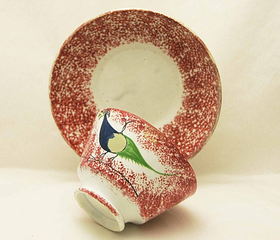 "Antique 19th C. RED SPATTERWARE Cup w/ PEAFOWL and Red Saucer Cup measures 2 1/2"" high x 4"" wide opening Very Good Vintage Condition"