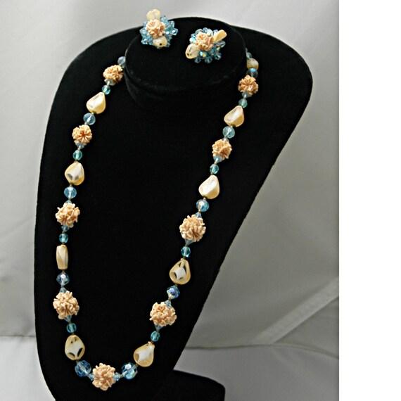 """Vintage Elegant 1930s Demi Parure Set 24"""" Necklace Bold Gold Clasp Matching Cluster Clip Earrings Blue Aurora Borealis Pink Flower Bouquet"""