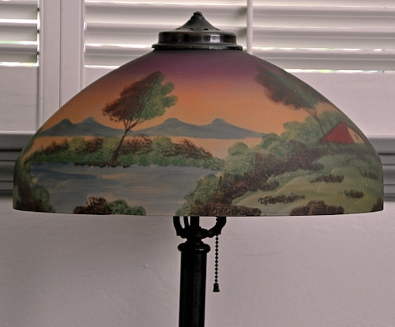 Vintage REVERSE PAINTED SHADE, Country Scene on Original Candlestick Base with Bronze Finish in Excellent Condition