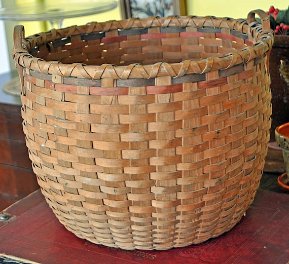 "Scarce Antique ALBRA (Albian) LORD BASKET, Lovell. Maine ca.1900 10""T x 13""Di Very Good Vintage Condition"