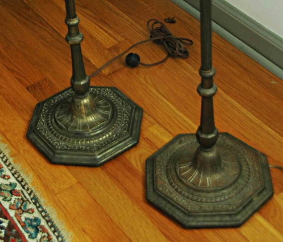 Pr Vintage Elegant 1920s TORCHIERE FLOOR LAMPS French Style Metal W/ Shades V G Condition Missing One Chain Pick-Up by App't No Free Ship