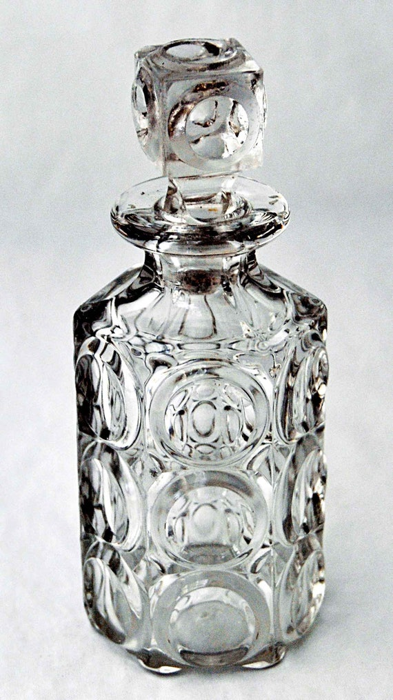 Antique C 1880 'Giant Bulls Eye and Spear Head' EAPG Cologne Bottle With Original Stopper, Dalzell, Gilmore & Leighton, Findlay, Oh Exc Cond