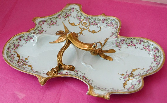 Reduced: 1800s Antique FRENCH HAND DECORATED Porcelain Tray Heavy Encrusted Gold Trim Rose Accents Unusual Ornate 3 Compartments Exc Cond.