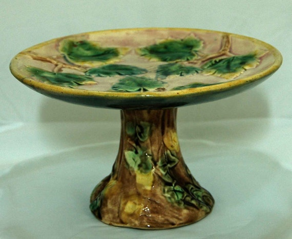 Reduced: Antique MAJOLICA ETRUSCAN COMPOTE C 1800s Green Maple Leaves Pink Bk Ground Tree Trunk Green, Yellow Leaves Exc Condition