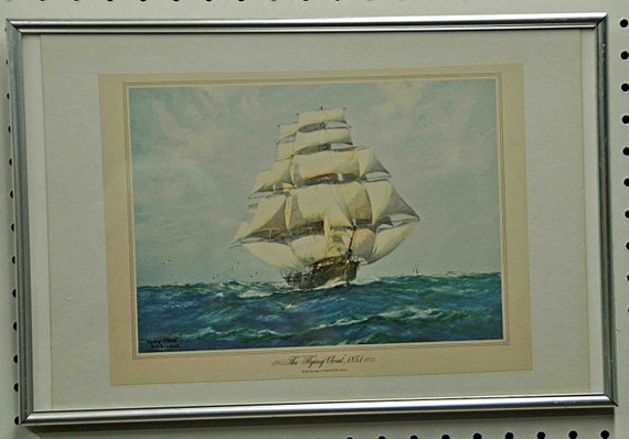 "Vintage Print C1974 THE FLYING CLOUD 1851 Framed 18 1/4 x 12 1/4"" Copy by W. M. Birchall Exc Like New Condition Vtg Framed Print"