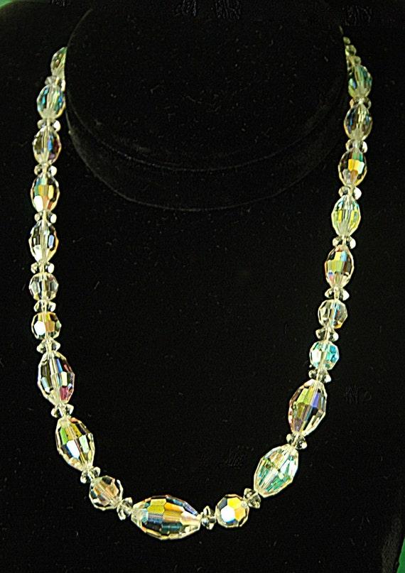 """Reduced: Vintage Bohemian Aurora Borealis AUSTRIAN CRYSTAL NECKLACE Brilliant Ca 1940s-50s 16 1/2"""" Long Exc Vintage Condition -"""