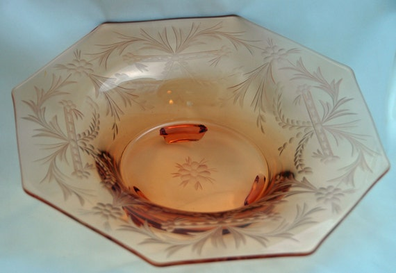 "Reduced Vintage 1925-32 FOSTORIA Rock Crystal OCTAGON BOWL Delicate Cut Design Size 12""di x 3""t Lt Amber (Warm, autumnal gold) Exc Condition"