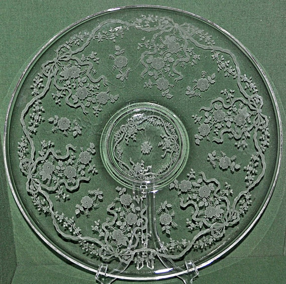 "Vintage FOSTORIA ROMANCE TORTE Plate, Ca 1941, Etched, Round, 14""di, Platter Very Good Vintage Condition."