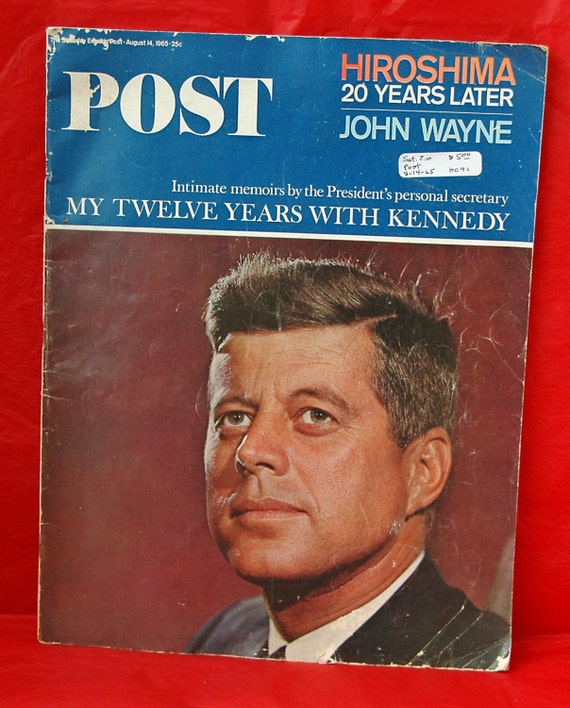 Vintage JOHN F  KENNEDY n JACQUELINE Saturday Evening Post Magazine August 14,1965 Featuring The Kennedys n Great Ads - Great Christmas Gift