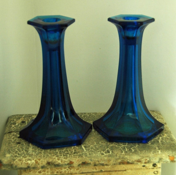 "Reduced: Ca 1920 Rare – Pair Vintage CANDLESTICKS DARK SAPPHIRE Blue 7 1/4 "" Art Deco Hexagonal Matched Set , Excellent Condition"