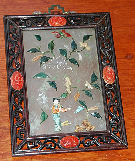 "Rare Antique 1800s CHINESE JADE Hard Stone TABLE Screen In Hand Carved Frame Plaque w/ Cornelian Stones n 'as found' Condition 5 7/8""W x 8""T"