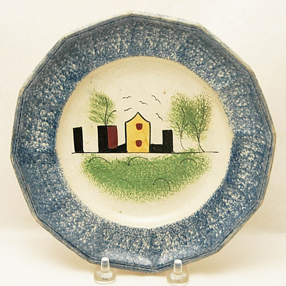 "Rare n Scarce Antique C 1840 SPATTERWARE CASTLE r FORT Pattern Plate 7"" di Blue, Green, & Yellow C. 2nd Quarter 19th Century Exc Condition"