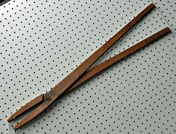 "Antique 18th - 19th C SCISSORS r TREE CLIPPERS Primitive Folk Art Carved Wood Display Sign HandMade Rosehead Nails 33"" Long x Abt 3 1/2"" W"