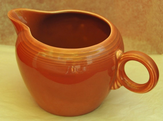 Scarce Vintage Authentic FIESTAWARE 2 PINT JUG Pottery Original 50s Rose Glaze C 1951-'59 Iconic Ring Handle Showcased Marked n Mold On SALe