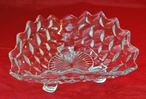 Reduced: Vintage FOSTORIA AMERICAN TRIANGULAR Pattern Depression Glass Bowl or Candy Dish, Ca 1940s, Excellent Condition -