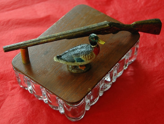 REDUCED Rare Vintage DUCK n RIFLE In Brass/Bronze On Wood Lid Glass Card, Trinket, or Cigarette Box In Original As Found Excellent Condition