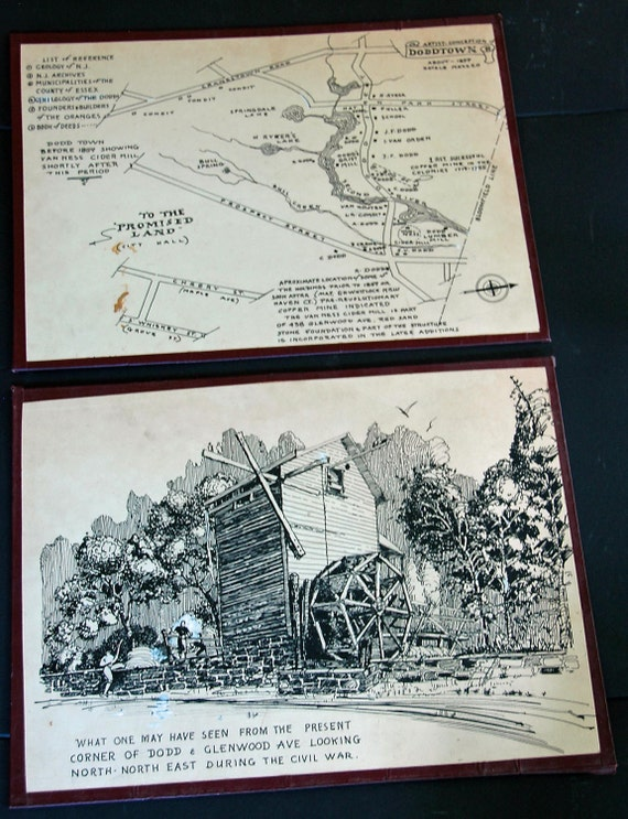 Vintage Set 1859 CONCEPTION of DODDTOWN N J Pen & Ink by Natale MAZZEO Peter Hastings Falks bk 'Who Was Who n American Art 1564-1975 On Sale
