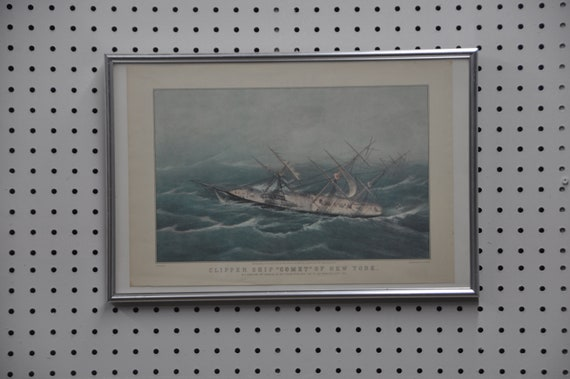 """Vintage Art Print N. Currier CLIPPER SHIP """"COMET"""" By C. Parsons, Del. In Color, Reprinted From Lith. by N. Currier, Framed In Exc Condition"""