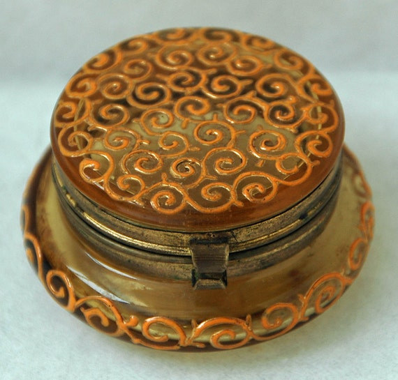 Antique French ENAMELED PATCH SNUFF r Pill Box Glass w/ Raised Gold Colored Enameled Scrolls Decoration Hinged Great Patina Exc Condition