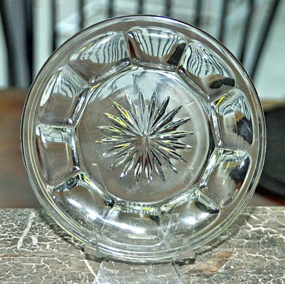 "Vintage C 1940s 5"" HEISEY Glass COLONIAL PANEL Pattern Plate, Star Burst Center w/ 'H' No chips, cracks, or repairs, Good Vintage Condition"