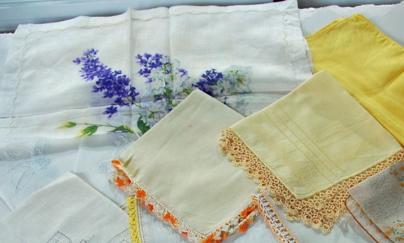 Reduced: 13 Vintage HANDKERCHIEFS Assorted White Linen n Silk W/Yellow Blue No 2 Alike All HAND EMBROIDERED Crochet Tatting Edges