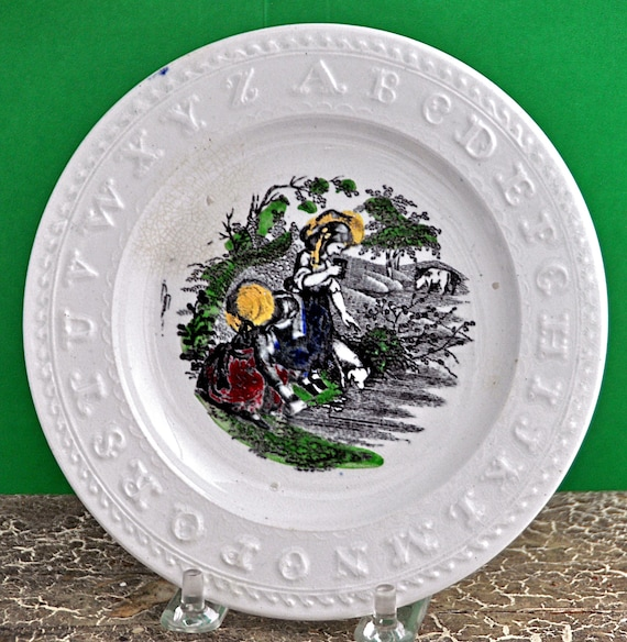 "Antique Child's ALPHABET ABC PLATE 6""di English Staffordshire 2 Children with Dog & Cow Very Good Condition"