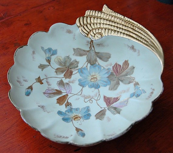 Reduced: Antique 1889 RUDOLSTADT GERMANY Hand Painted Art Nouveau Blue n Lavender Flowers Heavy Gold Trim Exc Condition