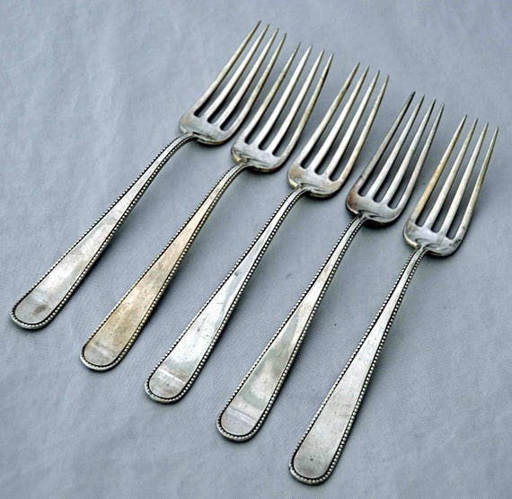 Antique Ca 1893-1915 DAVIS & GALT 5 'BEAD' Sterling Silver Forks Philadelphia Pa Made for Shreve Crump Low Boston Ma No Monograms Exc Cond