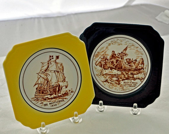 Vintage 2 Historic American Scene Plates SYRACUSE CHINA O. P. Co. Excellent Condition