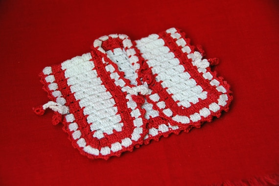 Vintage Hand CROCHET POT HOLDER Red and White Jacket, Pot Holder, Doll Jacket, Bottle Cover, Red and White