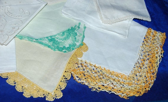 Vintage HANDKERCHIEFS 12 Assorted - YELLOW n GREEN On White Linen n Cotton With Hand Crochet, No 2 Alike, Beautiful Condition