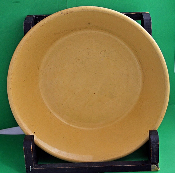 "Large Rare Antique Original Bright YELLOWARE 12 1/2"" NAPPY/MILK Bowl 1800s-1910 Excellent Condition"