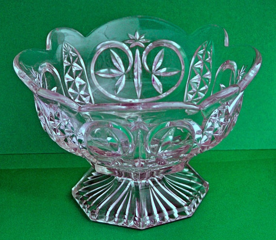"Antique LEAF n STAR aka TOBIN Footed Bowl New Martinsville Pattern 711 Ca 1890-1909 8"" Di Clear Glass Excellent Vintage Condition"