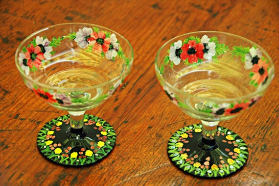 Reduced Antique Two ENAMELED GLASS CHAMPAGNE Desert r Sauce Compotes w/ Raised Decoration Clear Bowl n Black Base Exc Condition Mid 20th C