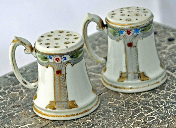 Vintage Pair SALT & PEPPER Shakers With HANDLES Marked Made in Japan Porcelain Hand Painted With Gold Trim Excellent Condition